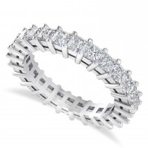 Princess Cut Diamond Eternity Wedding Band 14k White Gold (2.60ct)