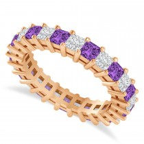 Princess Cut Diamond & Amethyst Eternity Wedding Band 14k Rose Gold (2.60ct)