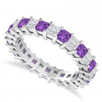 Princess Cut Diamond & Amethyst Eternity Wedding Band 14k White Gold (2.60ct)