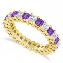 Princess Cut Diamond & Amethyst Eternity Wedding Band 14k Yellow Gold (2.60ct)