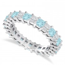 Princess Cut Diamond & Aquamarine Eternity Wedding Band 14k White Gold (2.60ct)