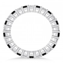 Princess Cut Black Diamond Eternity Wedding Band 14k White Gold (2.60ct)