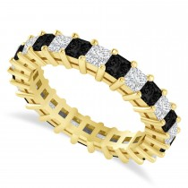 Princess Cut Black Diamond Eternity Wedding Band 14k Yellow Gold (2.60ct)