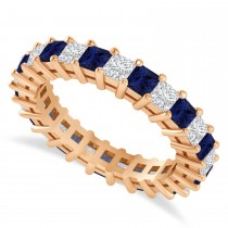 Princess Cut Diamond & Blue Sapphire Eternity Wedding Band 14k Rose Gold (2.60ct)