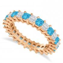 Princess Cut Diamond & Blue Topaz Eternity Wedding Band 14k Rose Gold (2.60ct)