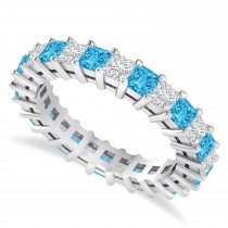 Princess Cut Diamond & Blue Topaz Eternity Wedding Band 14k White Gold (2.60ct)