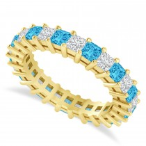 Princess Cut Diamond & Blue Topaz Eternity Wedding Band 14k Yellow Gold (2.60ct)