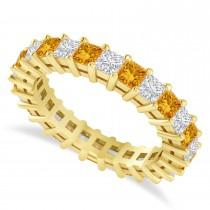 Princess Cut Diamond & Citrine Eternity Wedding Band 14k Yellow Gold (2.60ct)