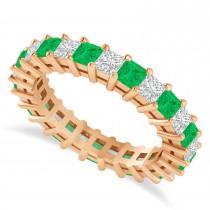 Princess Cut Diamond & Emerald Eternity Wedding Band 14k Rose Gold (2.60ct)
