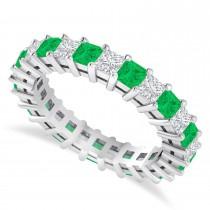 Princess Cut Diamond & Emerald Eternity Wedding Band 14k White Gold (2.60ct)