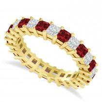 Princess Cut Diamond & Garnet Eternity Wedding Band 14k Yellow Gold (2.60ct)