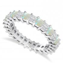 Princess Cut Diamond & Opal Eternity Wedding Band 14k White Gold (2.60ct)