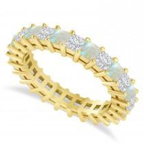 Princess Cut Diamond & Opal Eternity Wedding Band 14k Yellow Gold (2.60ct)