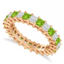 Princess Cut Diamond & Peridot Eternity Wedding Band 14k Rose Gold (2.60ct)