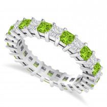 Princess Cut Diamond & Peridot Eternity Wedding Band 14k White Gold (2.60ct)