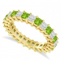Princess Cut Diamond & Peridot Eternity Wedding Band 14k Yellow Gold (2.60ct)