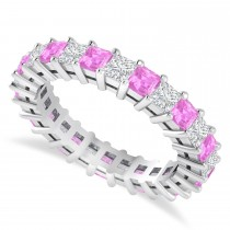 Princess Cut Diamond & Pink Sapphire Eternity Wedding Band 14k White Gold (2.60ct)