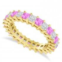 Princess Cut Diamond & Pink Sapphire Eternity Wedding Band 14k Yellow Gold (2.60ct)