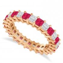 Princess Cut Diamond & Ruby Eternity Wedding Band 14k Rose Gold (2.60ct)