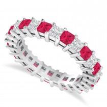 Princess Cut Diamond & Ruby Eternity Wedding Band 14k White Gold (2.60ct)