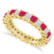Princess Cut Diamond & Ruby Eternity Wedding Band 14k Yellow Gold (2.60ct)