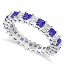 Princess Cut Diamond & Tanzanite Eternity Wedding Band 14k White Gold (2.60ct)