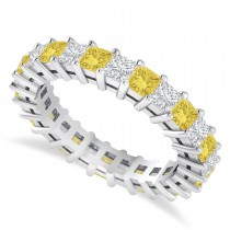 Princess Cut Yellow Diamond Eternity Wedding Band 14k White Gold (2.60ct)