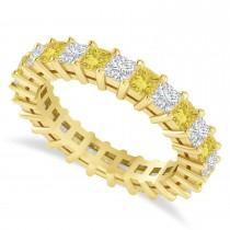 Princess Cut Yellow Diamond Eternity Wedding Band 14k Yellow Gold (2.60ct)