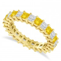 Princess Cut Diamond & Yellow Sapphire Eternity Wedding Band 14k Yellow Gold (2.60ct)