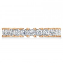 Princess Cut Diamond Eternity Wedding Band 14k Rose Gold (3.12ct)