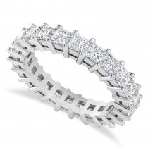 Princess Cut Diamond Eternity Wedding Band 14k White Gold (3.12ct)