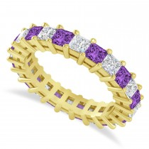 Princess Cut Diamond & Amethyst Eternity Wedding Band 14k Yellow Gold (3.12ct)
