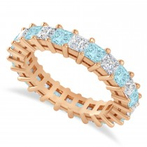 Princess Cut Diamond & Aquamarine Eternity Wedding Band 14k Rose Gold (3.12ct)
