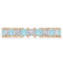 Princess Diamond & Aquamarine Wedding Band 14k Rose Gold (3.12ct)