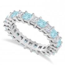Princess Cut Diamond & Aquamarine Eternity Wedding Band 14k White Gold (3.12ct)