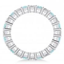 Princess Diamond & Aquamarine Wedding Band 14k White Gold (3.12ct)