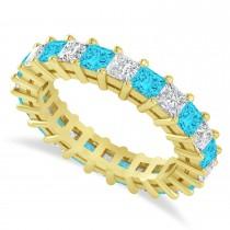 Princess Cut Blue Diamond Eternity Wedding Band 14k Yellow Gold (3.12ct)