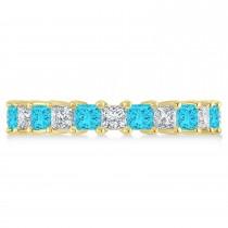 Princess Blue & White Diamond Wedding Band 14k Yellow Gold (3.12ct)