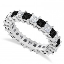 Princess Black & White Diamond Wedding Band 14k White Gold (3.12ct)