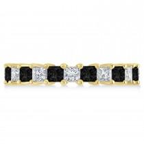 Princess Black & White Diamond Wedding Band 14k Yellow Gold (3.12ct)