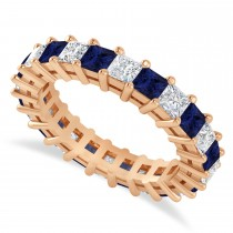Princess Cut Diamond & Blue Sapphire Eternity Wedding Band 14k Rose Gold (3.12ct)