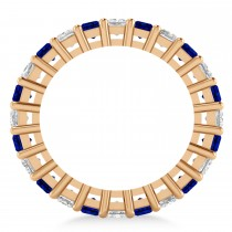 Princess Diamond & Blue Sapphire Wedding Band 14k Rose Gold (3.12ct)