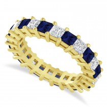 Princess Cut Diamond & Blue Sapphire Eternity Wedding Band 14k Yellow Gold (3.12ct)
