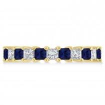 Princess Diamond & Blue Sapphire Wedding Band 14k Yellow Gold (3.12ct)