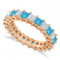 Princess Diamond & Blue Topaz Wedding Band 14k Rose Gold (3.12ct)