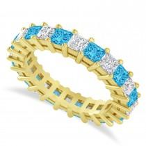 Princess Cut Diamond & Blue Topaz Eternity Wedding Band 14k Yellow Gold (3.12ct)