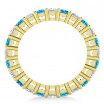 Princess Diamond & Blue Topaz Wedding Band 14k Yellow Gold (3.12ct)