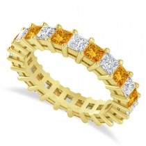 Princess Diamond & Citrine Wedding Band 14k Yellow Gold (3.12ct)
