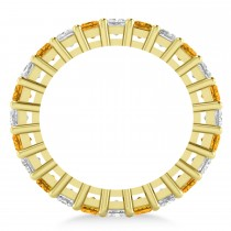 Princess Diamond & Citrine Wedding Band 14k Yellow Gold (3.12ct)