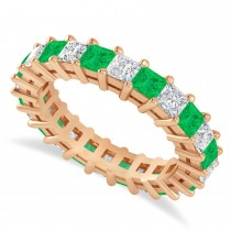 Princess Cut Diamond & Emerald Eternity Wedding Band 14k Rose Gold (3.12ct)